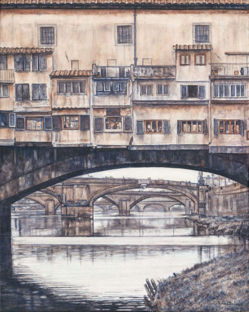 "A view of four of the bridges in Florence, Italy from the river bank below ""Ponte Vecchio"" or ""The Bridge of Gold"""