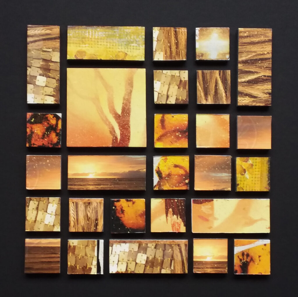 """Golden Tiles"" Photo collage Framed: 10"" x 10"" Image: 6.75"" x 6.75"" $125 Printed illustrations, acrylic varnish and black foam core. #5701"