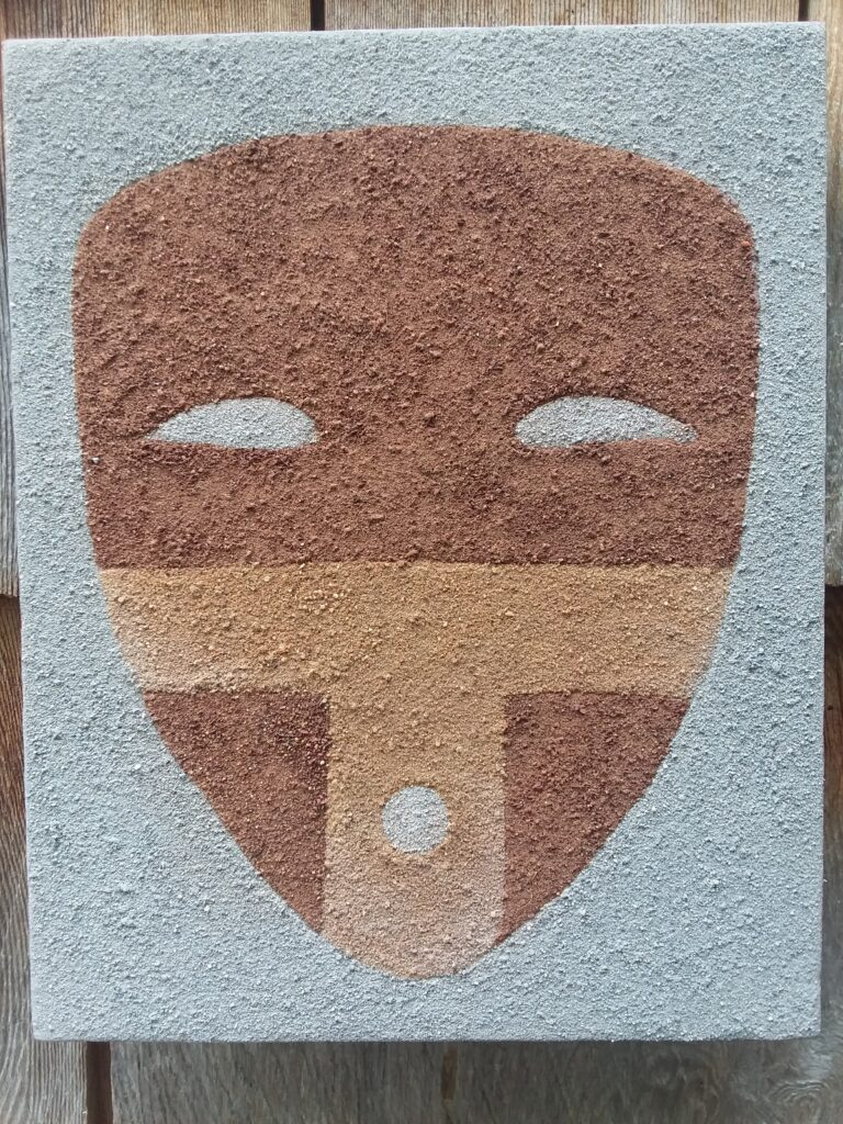"""""""Three Rivers Mask"""" Sand on Canvas Image: 10"""" x 8"""" $125 Red and yellow sand from New Mexico, Grey sand from Washington State, archival PVA glue on cotton canvas. Golden archival matte varnish.Based ondrawings of petrglyphs at the Three Rivers site in New Mexico.."""